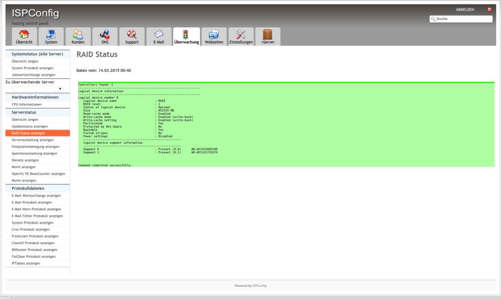 Adaptec RAID: Ausgabe von arcconf wird im ISPConfig-Monitoring angezeigt