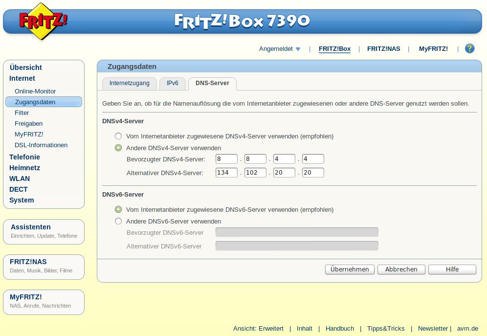 DNS-Server-Einstellungen der Fritz!Box