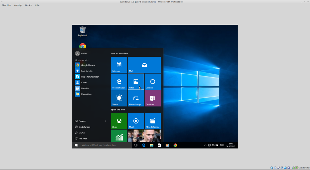Windows 10 fertig installiert in der VirtualBox