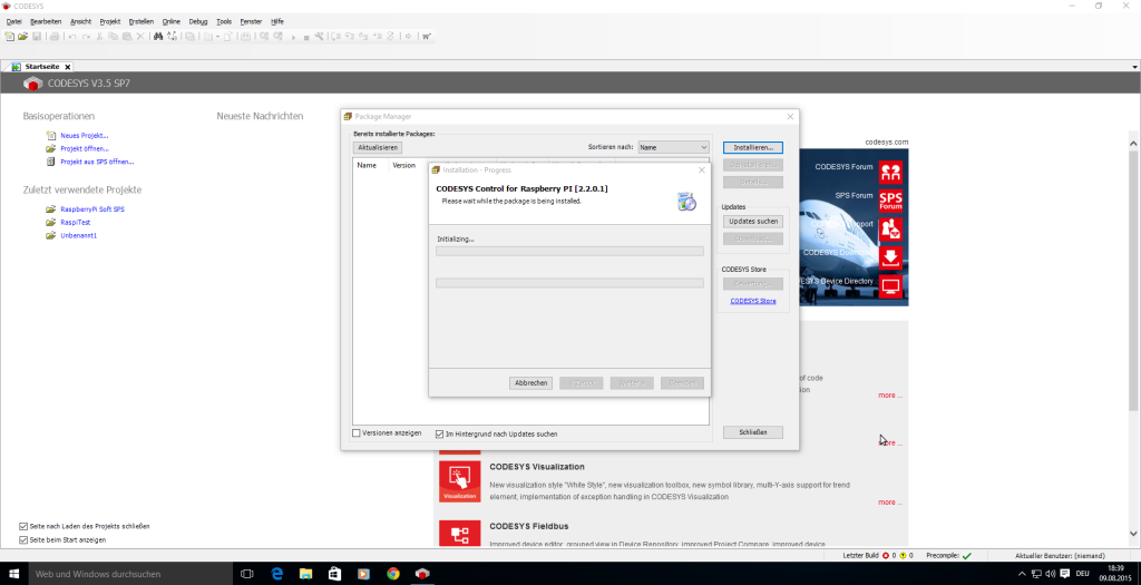 Installieren der RaspberryPi Targets über den Paketmanager
