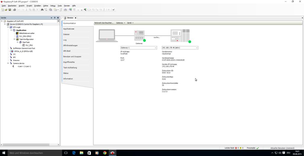 CODESYS 3.5 hat eine Verbindung zum RaspberryPi hergestellt