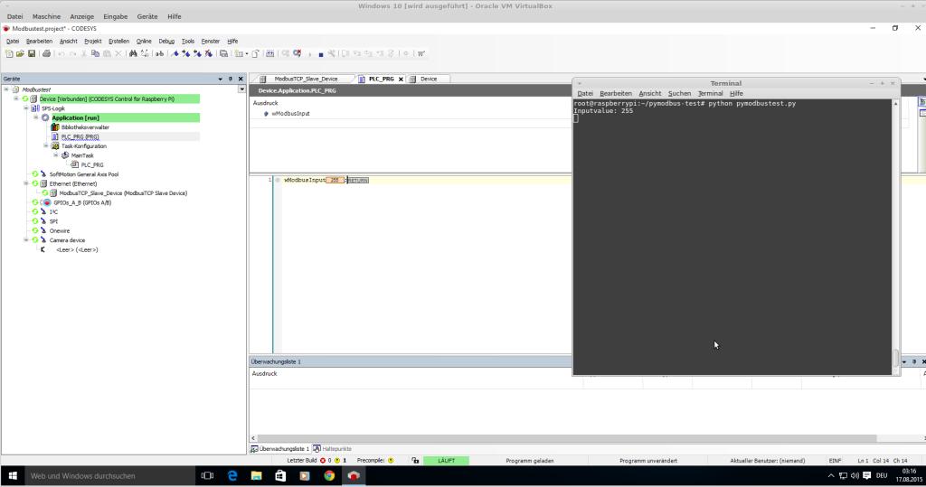 modbustest.py schreibt Daten auf CODESYS-Slave