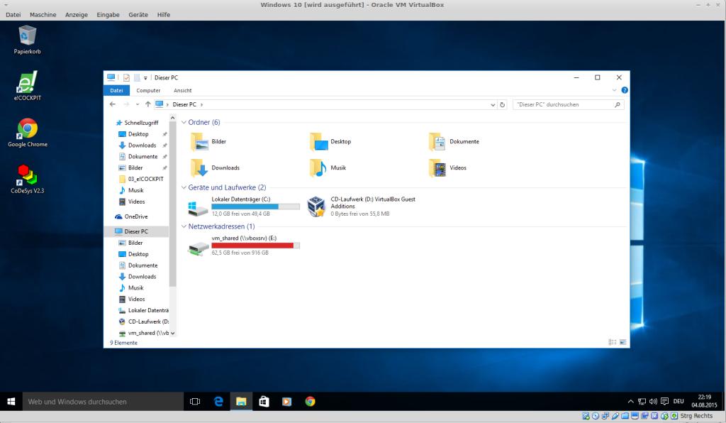 VirtualBox 5.0: Gasterweiterungen und geteilte Ordner mit Windows 10