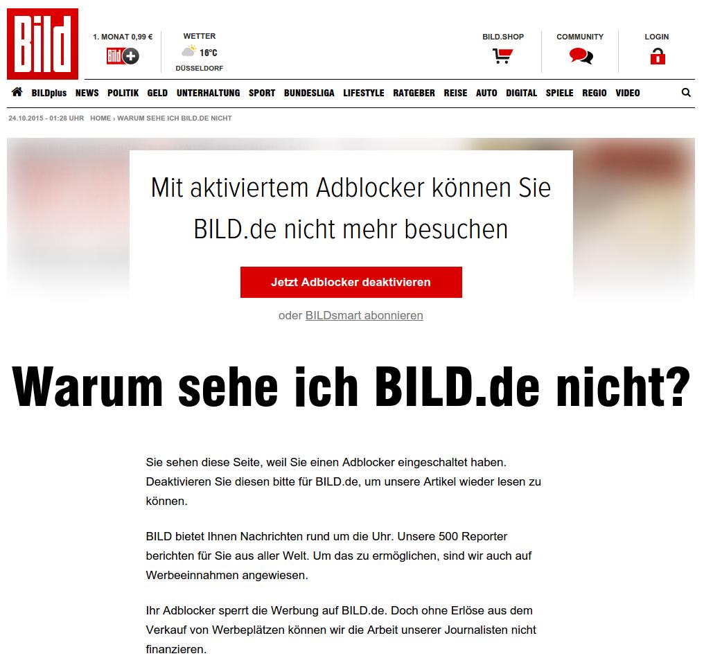 AdBlock-Blocker auf bild.de