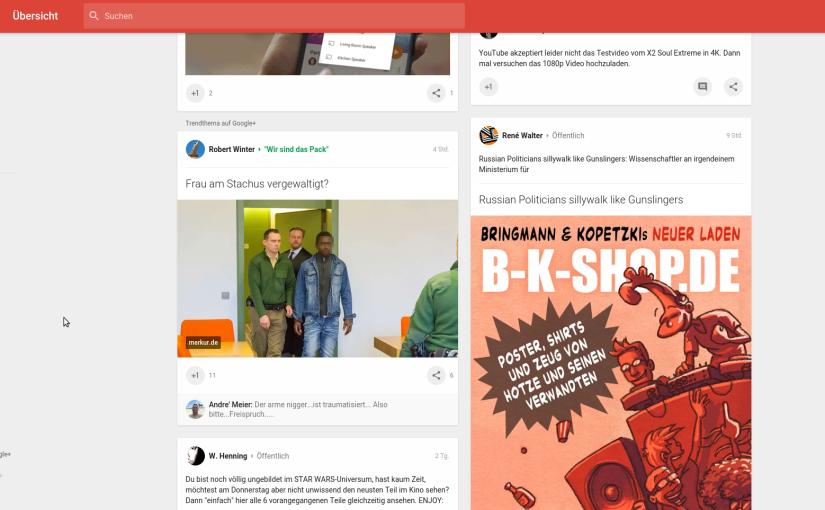 Nazidreck im Stream – Was Google+ mir so als Trendthema empfiehlt