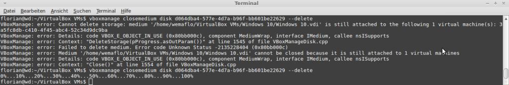 VirtualBox: Festplatte schließen und löschen mit closemedium