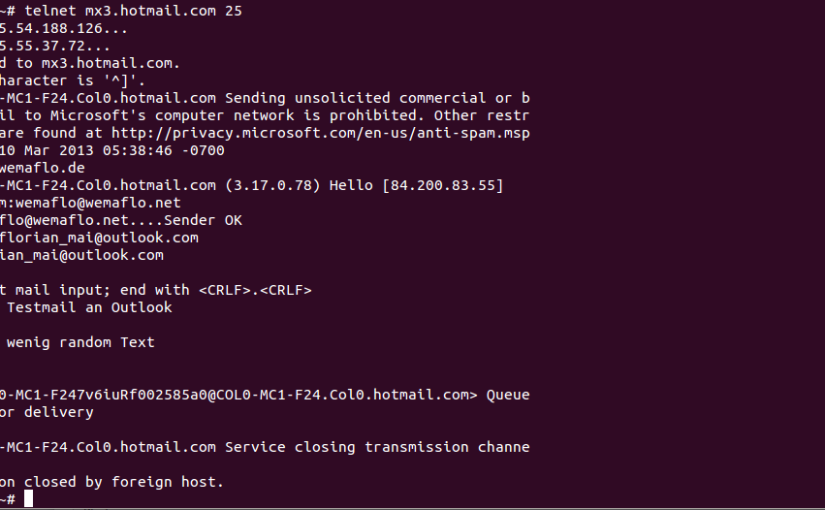 Mailzustellung an outlook.com via telnet