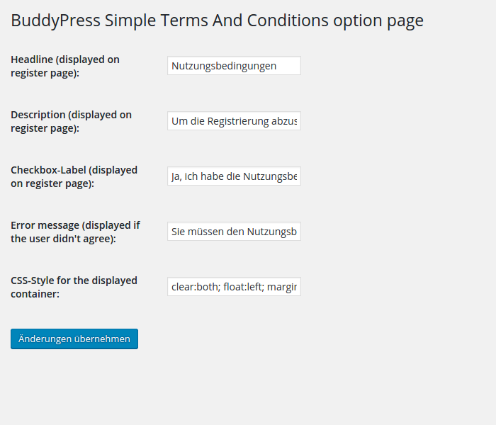 BuddyPress Simple Terms And Conditions auf der Optionsseite