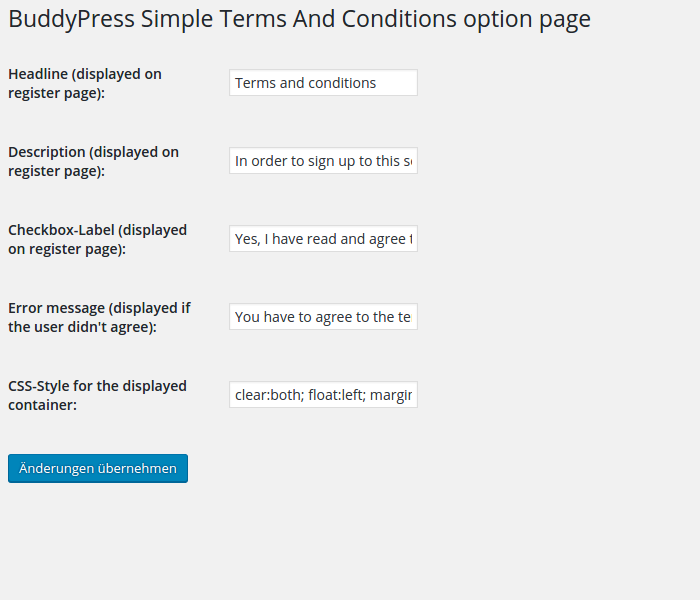 BuddyPress Simple Terms And Conditions on the options page
