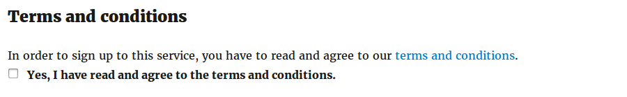 BuddyPress Simple Terms And Conditions on the registration page