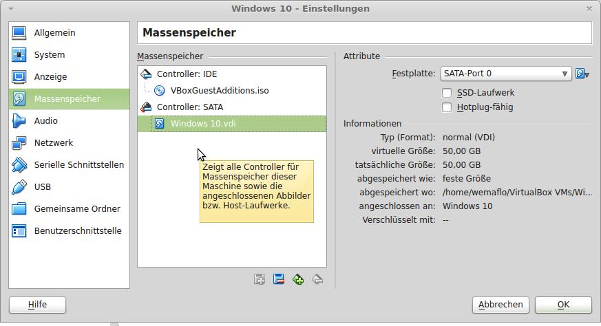 VirtualBox: Neue Festplatte dem Controller hinzufügen
