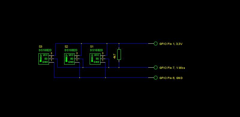 Drei DS18B20 parallel als Schaltbild