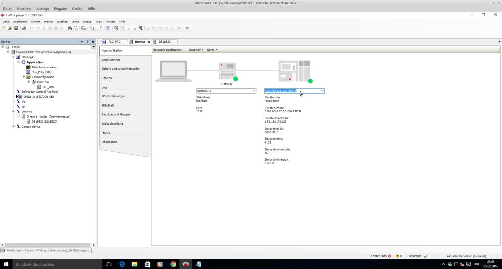 CODESYS verbinden mit dem Raspberry Pi im Device Manager