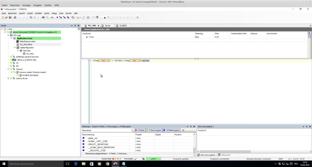 Die Livedaten des DS18B20 werden im laufenden Programm angezeigt.