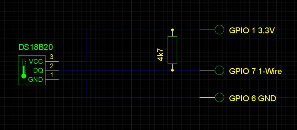 So wird der Sensor DS18B20 an die GPIO-Pins des Raspberry Pi angeschlossen
