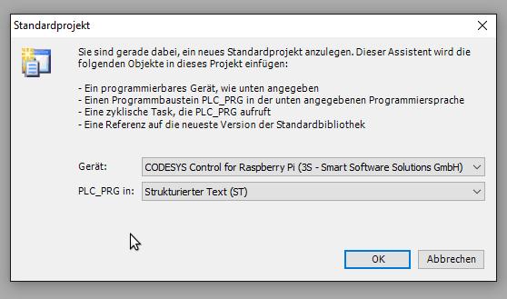 CODESYS Projekt anlegen für DS18B20 auf Raspberry Pi
