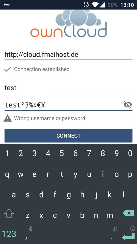 ownCloud-Login mit Sonderzeichen