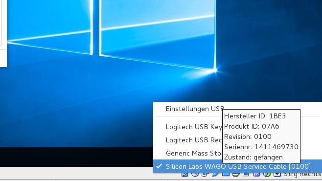 WAGO USB Service Cable in den USB-Geräten von Virtualbox