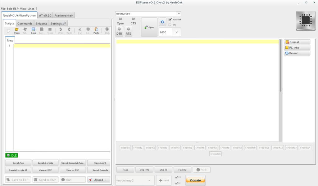 Programmieroberfläche ESPlorer, links der Code-Editor, rechts der serielle monitor