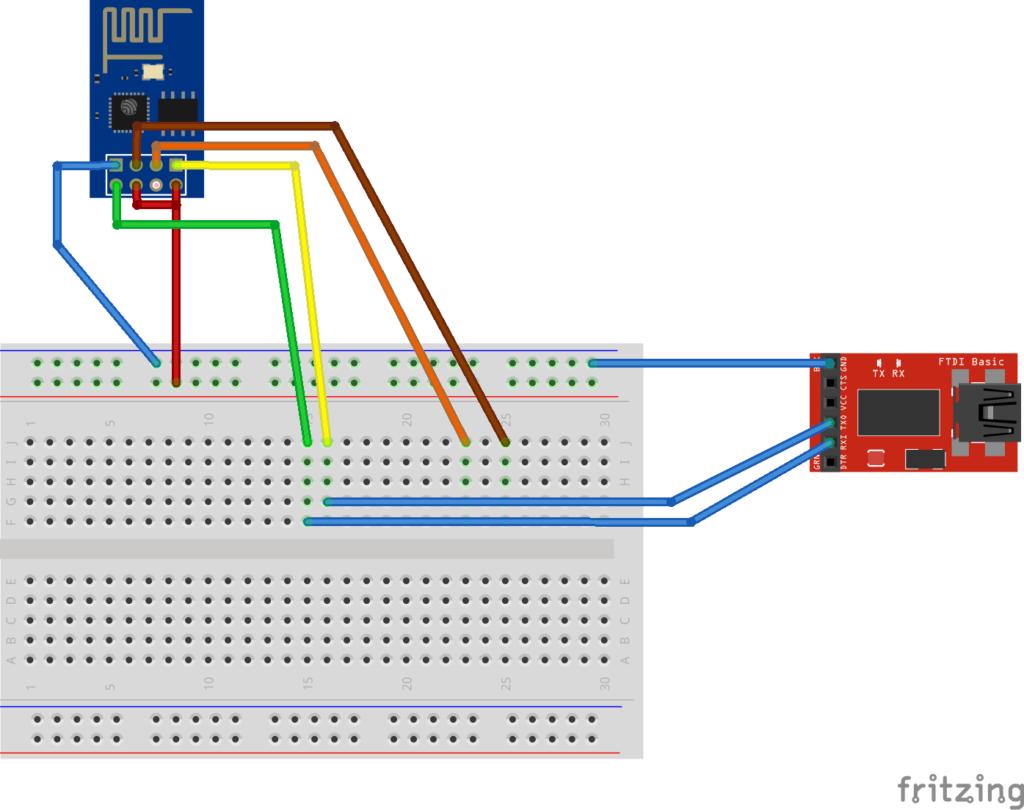 Der ESP8266 angeschlossen an das Breadboard und verbunden mit einer FTDI-Schnittstelle