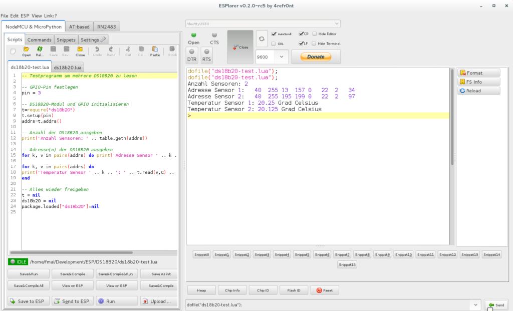 """Das Programm wird im ESPlorer mit dem Befehl dofile(""""ds18b20-test.lua""""); ausgeführt."""