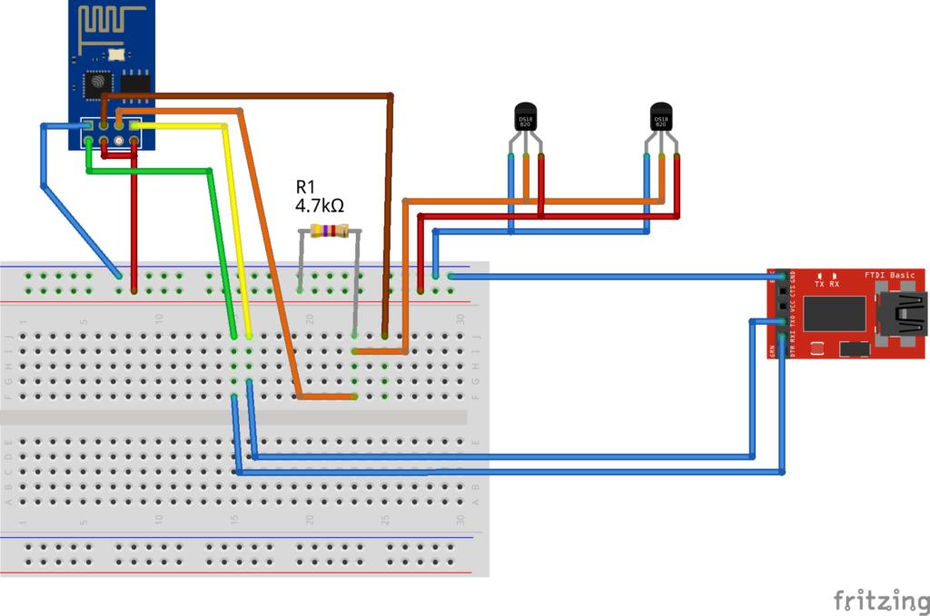 Der ESP8266 auf einem Breadboard mit dem zwei Temperatursensoren DS18B20