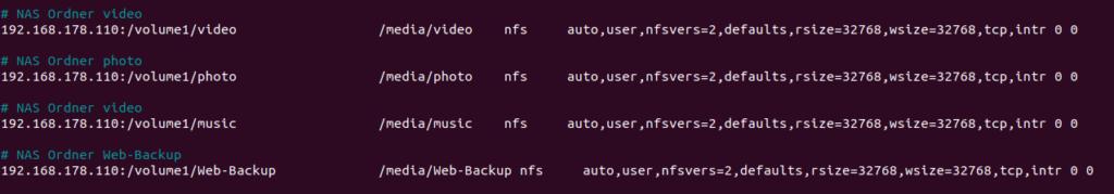 fstab Einträge für NFS-Laufwerke auf der Diskstation