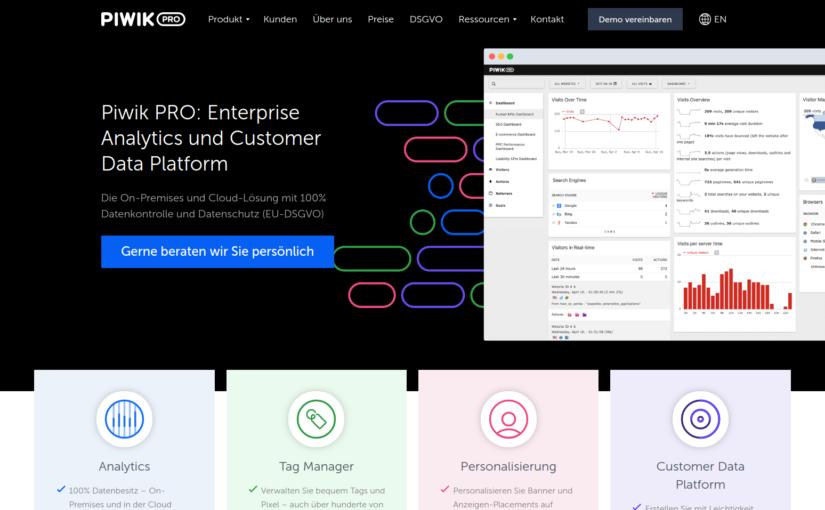 Screenshot der Startseite von Piwik PRO