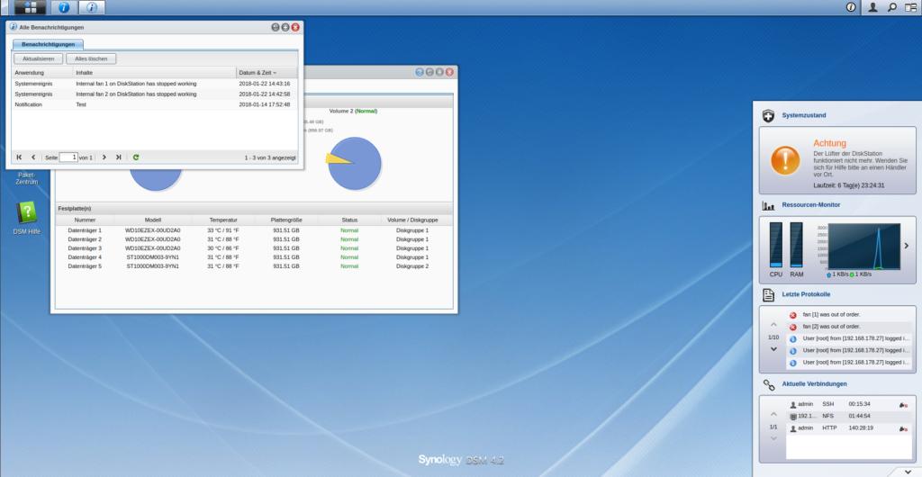 Synology DS509+ zeigt im Dashboard einen Lüfterfehler an